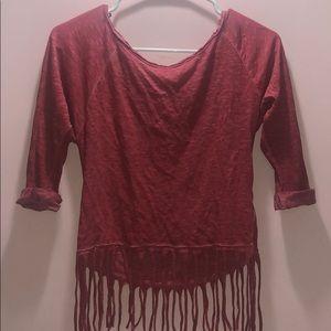 Women's red three quarter fringe blouse